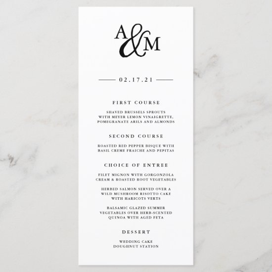 Ampersand Monogram Wedding Menu Card