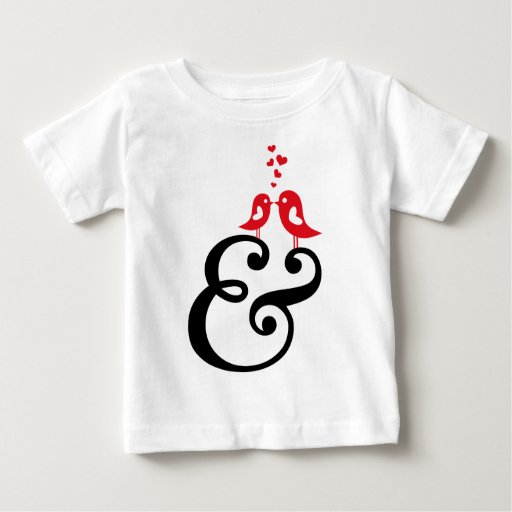 ampersand sign with birds and hearts baby T-Shirt