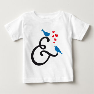 &, ampersand sign with blue birds and red hearts baby T-Shirt