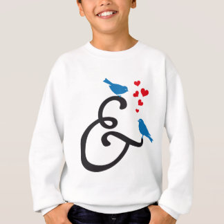 &, ampersand sign with blue birds and red hearts sweatshirt