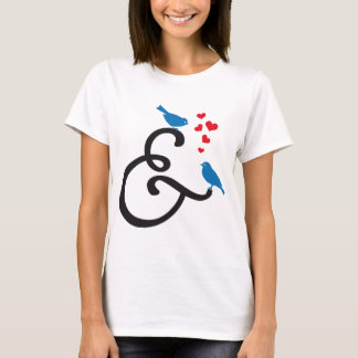 &, ampersand sign with blue birds and red hearts T-Shirt