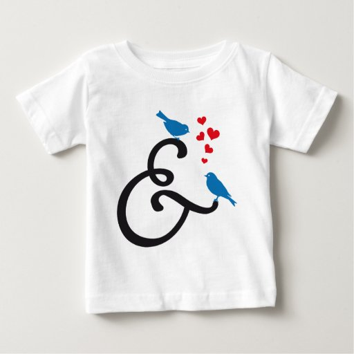 &, ampersand sign with blue birds and red hearts infant t-shirt