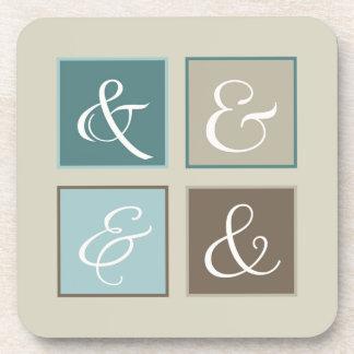 Ampersand Squares, Blue, Teal, Brown, Gray Beverage Coaster