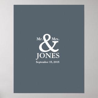 ampersand wedding guest signing book choose color poster