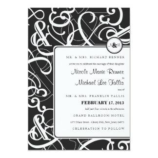 "Ampersand Wedding Invitation in Black & White 5"" X 7"" Invitation Card"