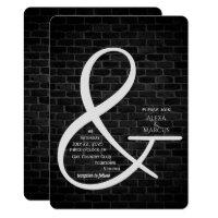 Ampersand Wedding Invitation on dark brick wall