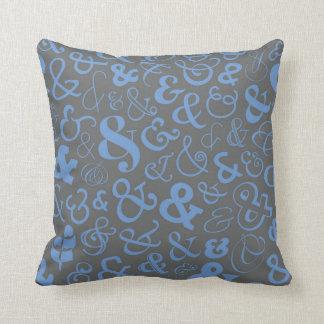 Ampersands Pattern - Blue Gray Throw Pillow