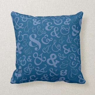 Ampersands Pattern - Blue Throw Pillow