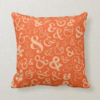 Ampersands Pattern - Orange Throw Pillow