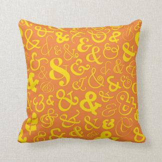 Ampersands Pattern - Sunset Orange Throw Pillow
