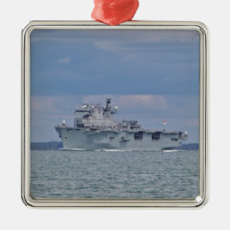 Amphibious Assault Ship Square Metal Christmas Ornament