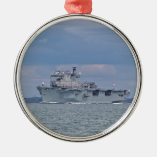 Amphibious Assault Ship Round Metal Christmas Ornament