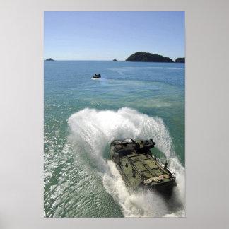 Amphibious Assault vehicles exit the well deck Poster