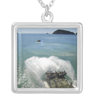 Amphibious Assault vehicles exit the well deck Silver Plated Necklace