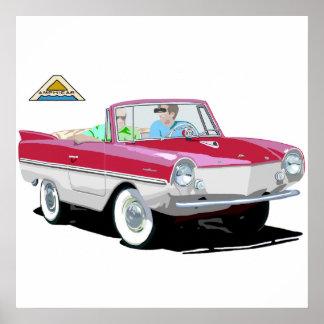 Amphicar Rojo-Blanco Póster