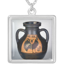 Amphora depicting a cockerel, Corinthian Style Silver Plated Necklace