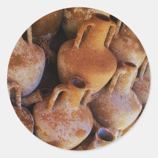 Amphoras del griego clásico pegatina redonda