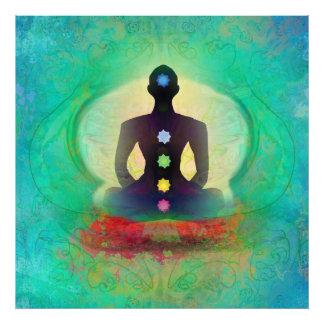 Ampliación de la foto de la yoga de la meditación fotografía
