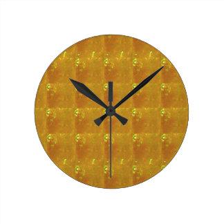 Ampliación de oro HealingSTONE del CRISTAL 2000X Reloj Redondo Mediano