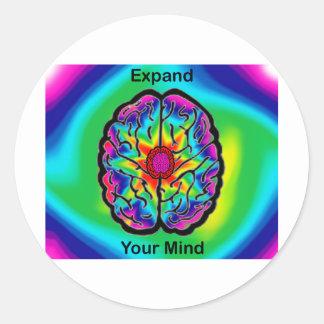 Amplíe su mente etiquetas redondas