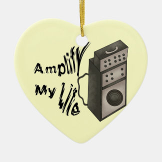 Amplifique mi vida adorno navideño de cerámica en forma de corazón