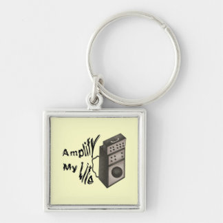 Amplify My Life Silver-Colored Square Keychain