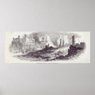 Amplio-calle, Nueva York, después del fuego recien Póster