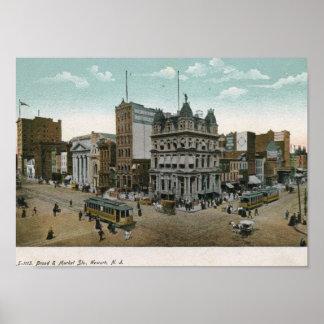 Amplio y mercado Sts., vintage 1906 de Newark NJ Poster