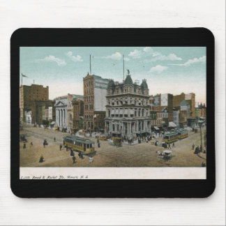 Amplio y mercado Sts., vintage 1906 de Newark NJ Tapetes De Ratón
