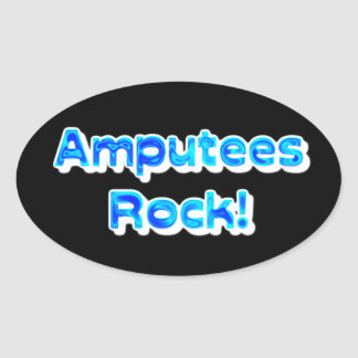 Amputees Rock! Oval Sticker
