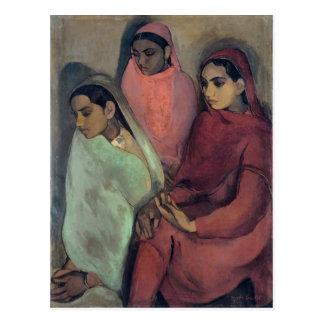 Amrita Sher-Gil painting, Three Girls Postcard