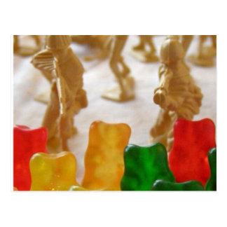 Amry Men vs. Gummybears Postcard