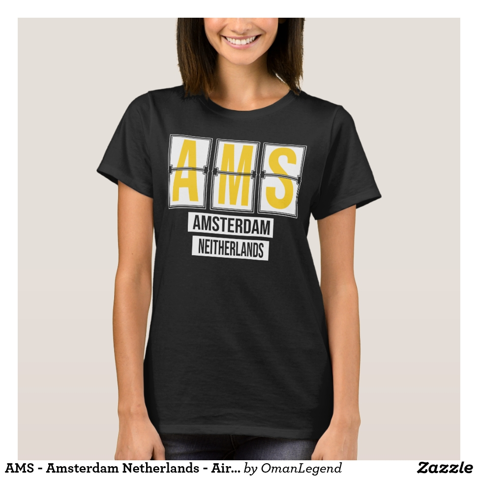 AMS - Amsterdam Netherlands - Airport Code Gift T-Shirt - Best Selling Long-Sleeve Street Fashion Shirt Designs