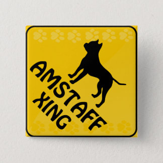 Amstaff Crossing [Xing] Pinback Button