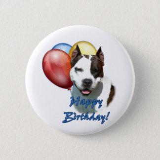 AmStaff Happy Birthday Balloon. Pinback Button