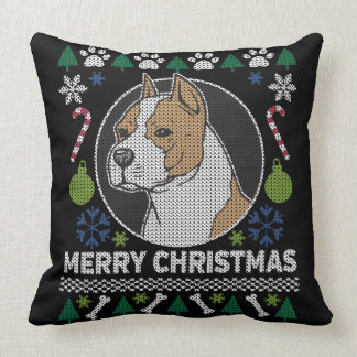 AmStaff Pit Bull Ugly Christmas Sweater Dog Throw Pillow