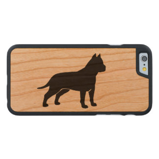 AmStaff Silhouette (Cropped Ears) Carved Cherry iPhone 6 Case