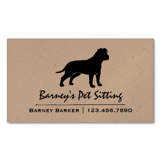 AmStaff Silhouette (Floppy Ears) Business Card Magnet