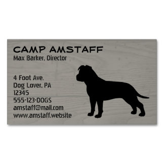 AmStaff Silhouette (Floppy Ears) Magnetic Business Card