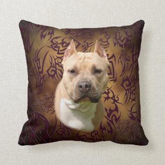 Amstaff tribal tattoo throw pillow