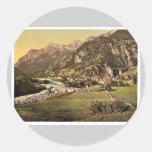 Amsteg, general view, St. Gotthard Railway, Switze Round Sticker