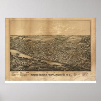 Amsterdam 1881 y puerto Jackson, mapa panorámico d Póster