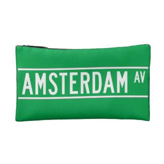 Amsterdam Av New York Street Sign Cosmetic Bags