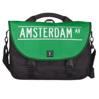 Amsterdam Av New York Street Sign Laptop Commuter Bag