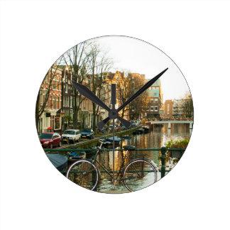 Amsterdam Bicicle Round Clock