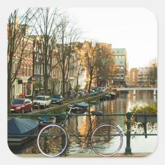 Amsterdam Bicicle Square Sticker