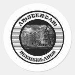 AMSTERDAM BLACK AND WHITE ROUND STICKERS
