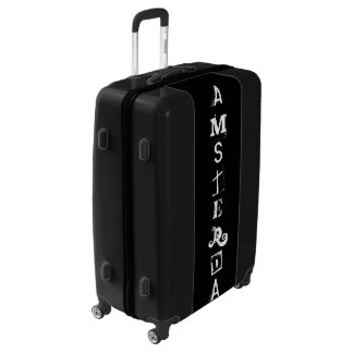 Amsterdam Black White Typography Luggage Suitcase