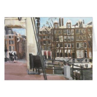 Amsterdam Bridge and Canal Houses Fine Art Card