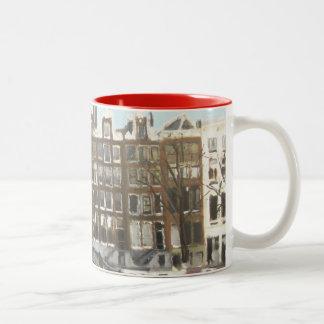 Amsterdam Bridge and Canal Houses Fine Art Two-Tone Coffee Mug